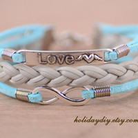 leather bracelet,love sign charm bracelet,infinity charm bracelet,gift box,IB055