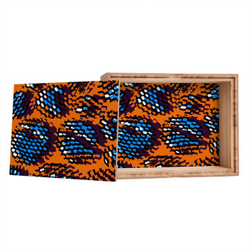 Sarah Bagshaw Orange And Blue Pixels Storage Box
