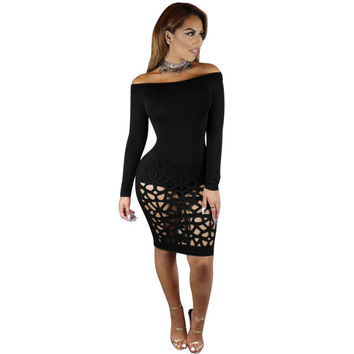 Vestidos Plus Size Women Sexy Hollow Out Bodycon Bandage Dress Sexy Slash Neck Long Sleeve Women Party Club Wear Dress GV452