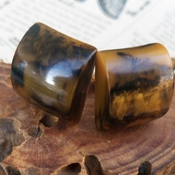 Mississippi mud marbled brown chunky bakelite clip on vintage earrings *tested*