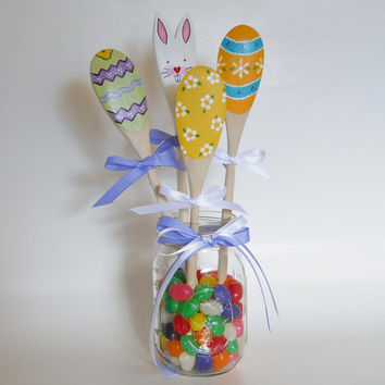 Easter Wooden Spoons, Easter Decor, Bunny and Egg Spoons, Easter Decoration, Easter, Easter Bunny, Easter Eggs