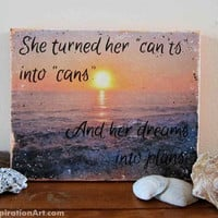 Inspirational Quote Signs Mixed Media Art - She Turned Her Can'ts Into Cans Small Canvas - Beach Wall Decor Inspiring Art - Orange Paintings