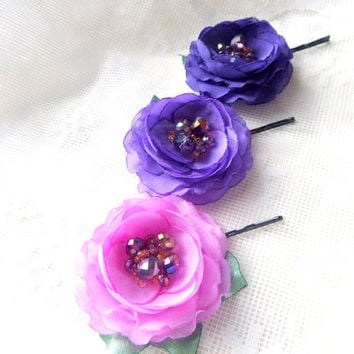 Lilac, purple, violet Flowers , Purple bobby pins, Bridal hair clips, hair accessory,Wedding, Small violet roses, Flower Girl , One Set