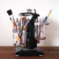 Ball Jar Desk Organizer, Utensil Caddy, Paint Brush, Pen, Pencil Holder, Make-up Organizer, Bathroom Caddy