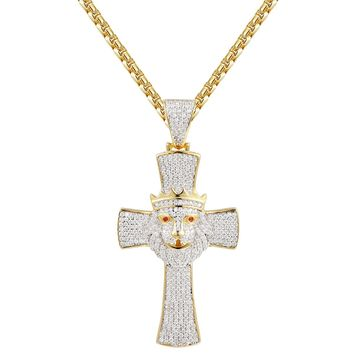 Religious Cross with Lion Head Crown Pendant Chain