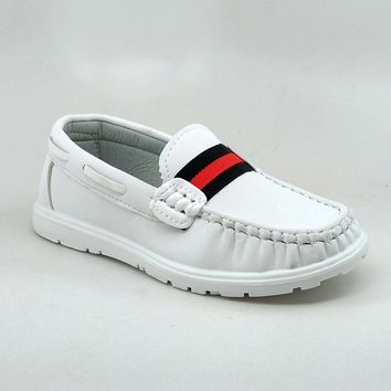 Boy's White Casual Shoes with Red Stripe Detail