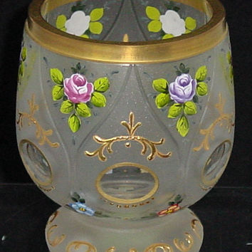 629116 Short Crystal Satin Glass With 6 Teardrop Panels Oval Cuts With Gold Decoration and Painted Flowers