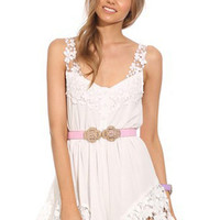 White Lace Embellished Romper