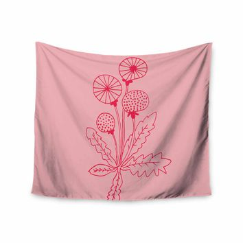 """bruxamagica """"Dandelion Pink"""" Pink Floral Nature Illustration Mixed Media Wall Tapestry"""