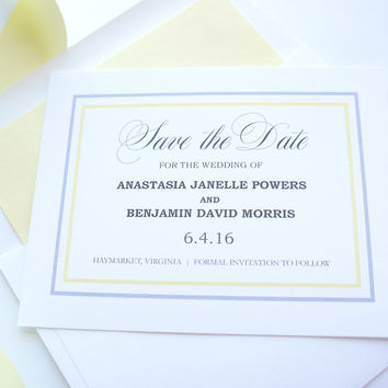 Yellow Save the Date Cards - DEPOSIT