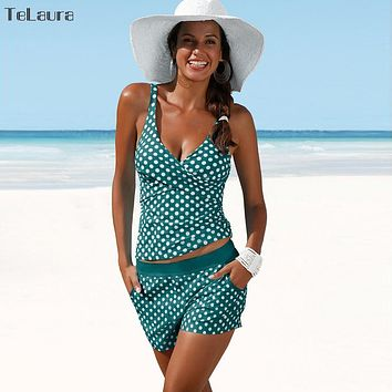 Tankini Bathing Suit Polka Dot High Waist Bikini Set