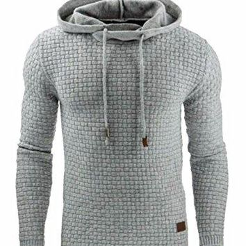 Sexyshine Men's Autumn Winter Casual Long Sleeve Funnel Neck Plaid Jacquard Pullover Hooded Top Sweatshirt Hoodies