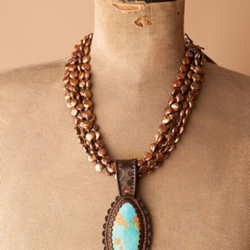 J Forks Turquoise Pendant Necklace