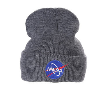 Nasa Beanie Mens & Womens Warm Winter Fashion Unisex Ski Cap Outdoor Knitted Gray Cuffed Skully Hat