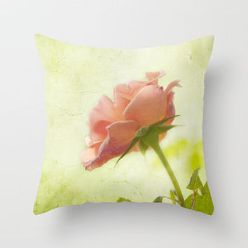 Vintage light pink rose Throw Pillow by Wood-n-Images | Society6