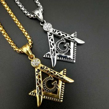 Free mason Masonic AG titanium steel necklace HIPHOP pendant fashion jewelry best friends High-quality Promotion G0030