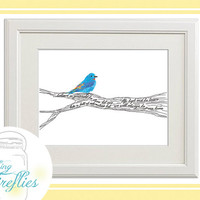 Graduation Gift 11 x 14 Bluebird on a branch Art with Your Custom Message, Download the Printable, Positive and Motivating
