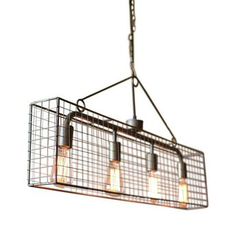Four Bulb Caged Pendant Light