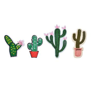 Hoomall Hot Sell Mixed 4PCs Patches For Clothing Jeans Iron On Appliques Embroidered Fabric Patch DIY Cactus Sewing Accessories