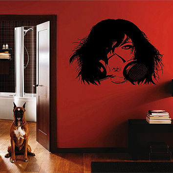 kik218 Wall Decal Sticker beautiful girl respirator postapokalipsis living room bedroom