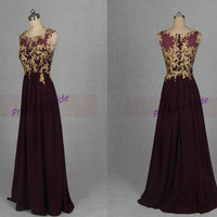 2015 a-line grape chiffon prom dresses with lace appliques,affordable bridesmaid dress on sale,elegant women gowns for evening party.
