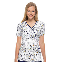 Runway by Cherokee Women's Mock Wrap Print Scrub Top