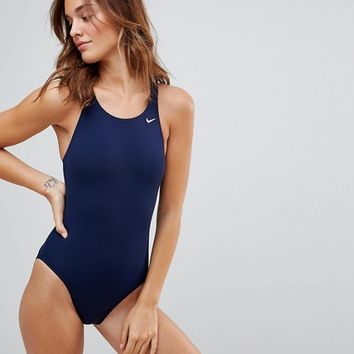 Nike Solid Navy Swimsuit at asos.com
