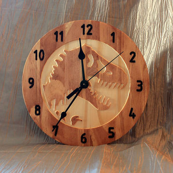 T-Rex Clock | Dinosaur Clock | Wood Clock | Wall Clock | Wooden Wall Clock | | Kids Room Decor | Jurassic Park | Jurassic World
