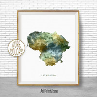 Lithuania Map Art, Lithuania Print, Watercolor Map, Map Painting, Map Artwork, Country Art, Office Decorations, Country Map Art Print Zone