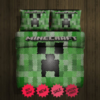 Minecraft creeper fleece blanket (Large)& 2pillow Cases #80994760,80994764(2) - Home Deco On Line