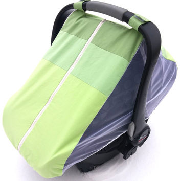 Fitted cotton car seat cover for spring/summer - Green ombre fitted infant carseat canopy - Mosquito net baby carseat cover