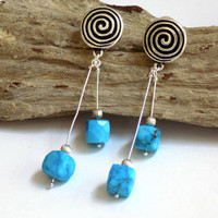 Turquoise Dangle Earrings, Gemstone Earrings, Blue Clip on Earrings for Women, Long Earrings, One of a Kind Jewelry, Handcrafted Jewelry