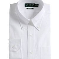 Lauren Ralph Lauren Regular Fit Non-Iron White Pin-Point Dress Shirt