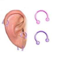 "2 piece lot Neon Pink & Neon Lt Purple Anodized titanium Horseshoe Ring cartilage, tragus, earring - 16 gauge, 1/4"" (6mm) 16g"