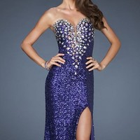 Plunged Sequin Evening Dress by La Femme
