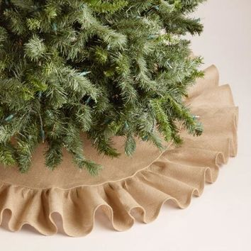 Beige Ruffled Burlap Tree Skirt