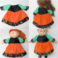 """HALLOWEEN Cabbage Patch 16"""" KIDS or Bitty Baby 15"""" doll or 18"""" clothes,  orange black green halloween dress, adorabledolldesigns handmade"""