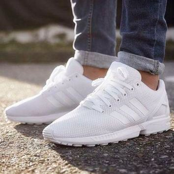 DCCKIJG Adidas' Fashion Women ZX FLUX Running Sport Casual Shoes Sneakers White