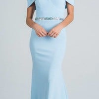 Light Blue Embellished Waist Off Shoulder Long Prom Dress