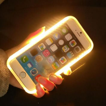 Case For iPhone 7 Plus 6 6S 5 5S SE Light Up Selfie Flash Cases illuminated Back Protective Cover For Samsung Galaxy S6 S7 edge