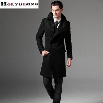 Men wool coat long coat woolen coat hombre pea coat