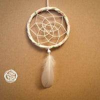 Small Dream Catcher - Small Flowers - With Flower Patterned Frame, White Web and Feather - Home Decor, Nursery Mobile