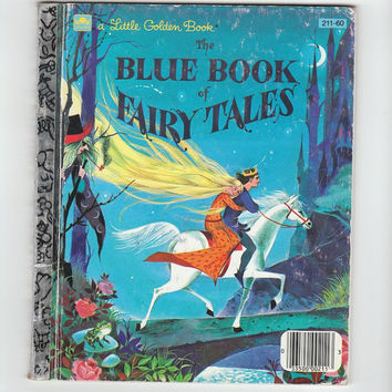 Vintage Little Golden Book,The Blue Book of Fairy Tales, childrens picture book, Gordan Laite illustrator VCH01145