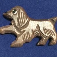 Wood Cocker Spaniel Dog Pin Hand Carved Wooden Figural Brooch Hand Painted 518