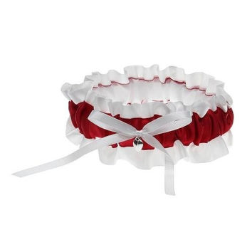 Bride's Bridal Wedding Garters Satin Bowknot Ruffles White + Red