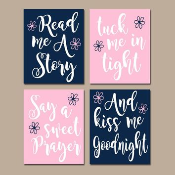 PINK NAVY Nursery Wall Art, CANVAS or Print, Nursery Quote Decor, Read Me A Story, Kiss Me Goodnight, Rhyme Quote, Baby Crib Decor, Set of 4