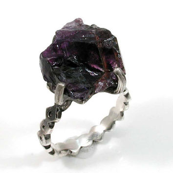 RAW Amethyst Rock Cocktail Ring Sterling by SwankMetalsmithing