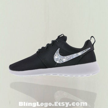 Bling Roshe Nike Shoes - Nike Roshe Run Black With Swarovski Crysral Rhinestones