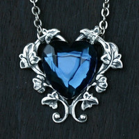 Blue Heart Necklace  London Blue Topaz by robinhoodcouture on Etsy