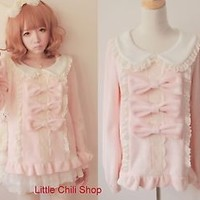 Trendy Sweet Lolita Punk Cute Kawaii BOWS Long Sleeve Shirt Blouse Pink